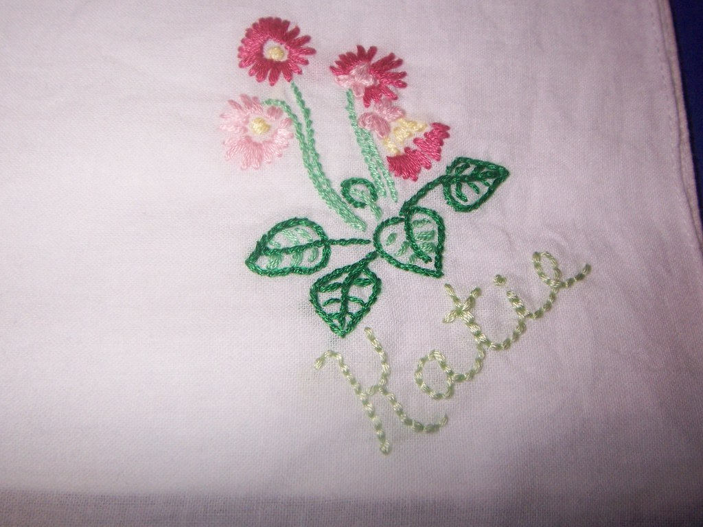 Hand embroidered floral handkerchief with name flowers
