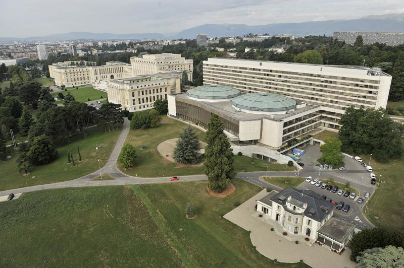 Aerial views of the United Nations Office in Geneva