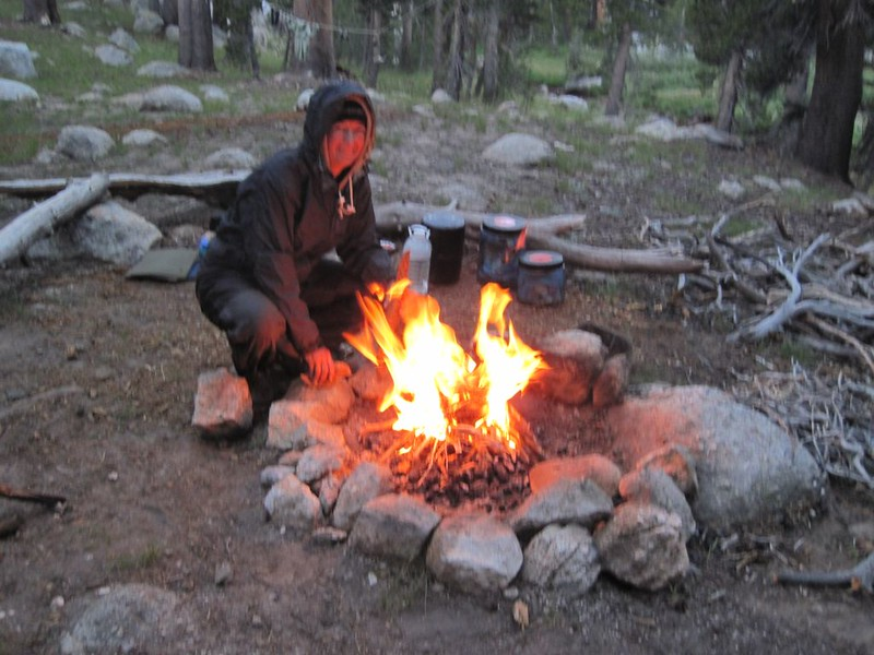 We lit the morning fire from the banked embers of the previous night's fire