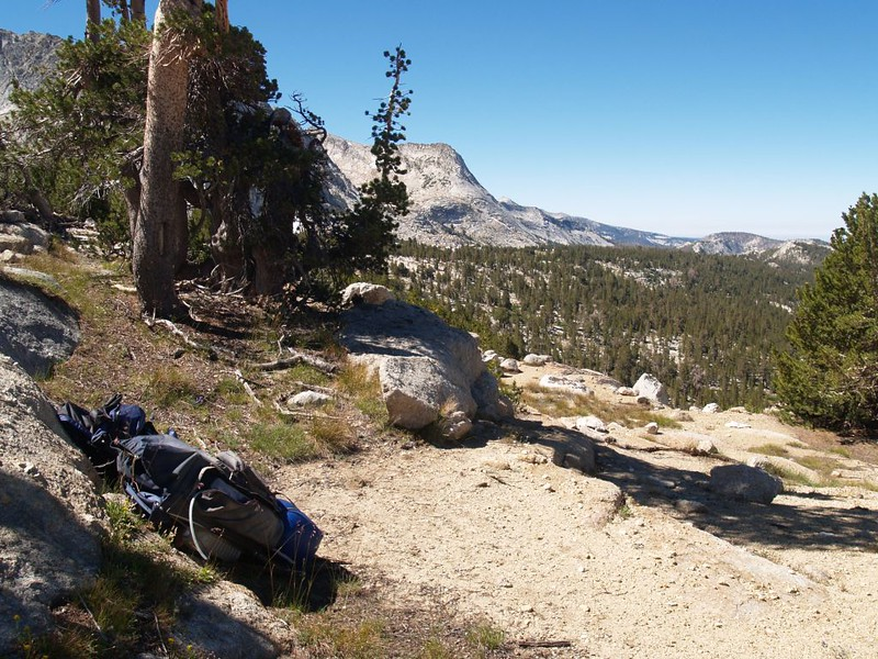 Our backpacks in their stash location. Nice spot for a campsite!