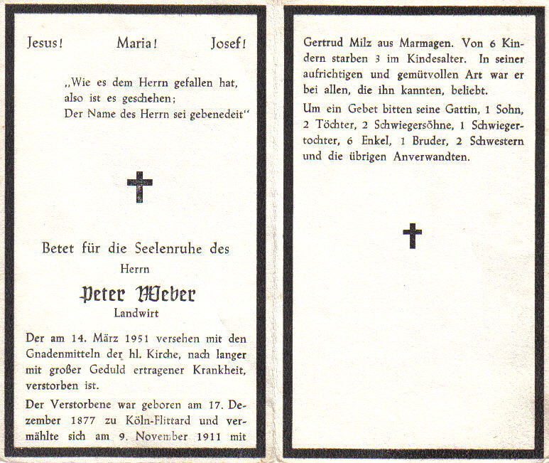 Totenzettel Weber, Peter † 14.03.1951
