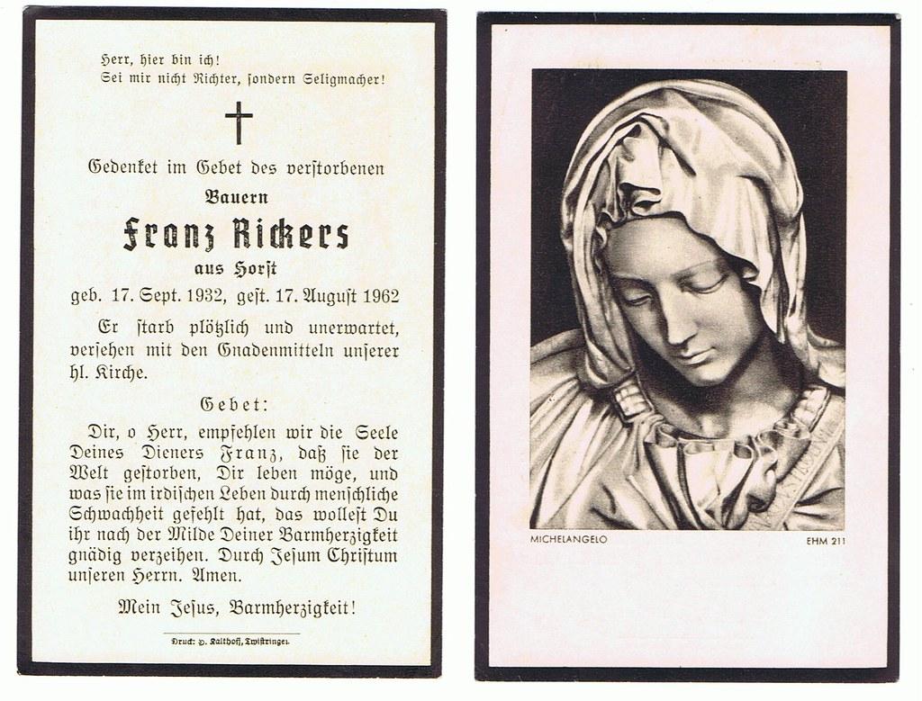 Totenzettel Rickers, Franz † 17.08.1962