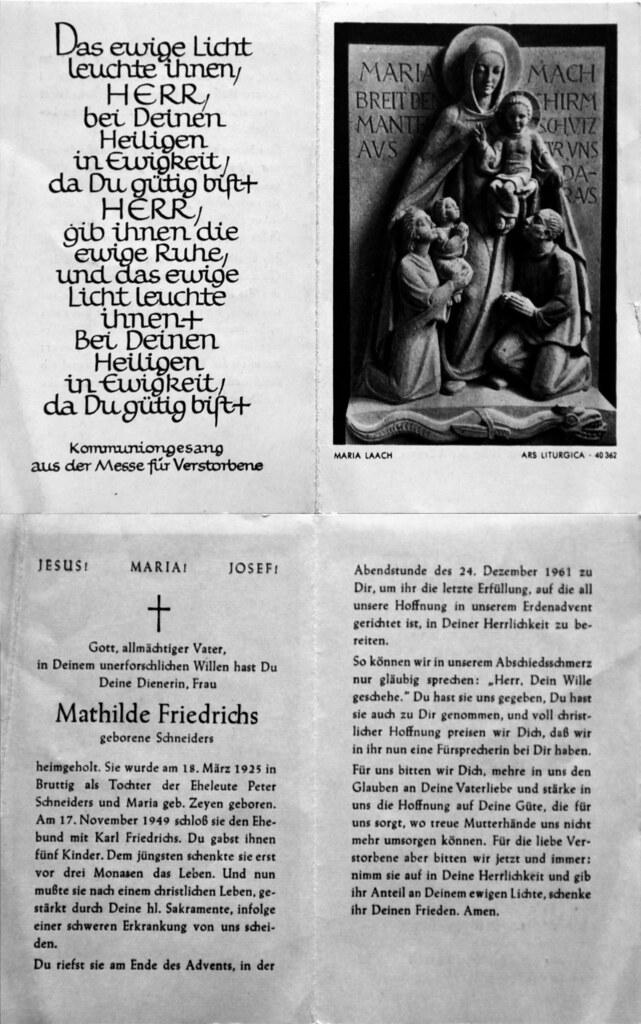 Totenzettel Friedrichs, Mathilde geb. Schneiders † 24.12.1961