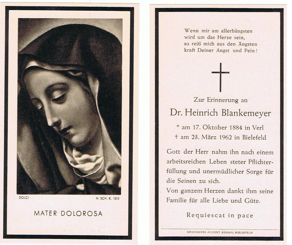 Totenzettel Blankemeyer, Heinrich † 23.03.1962