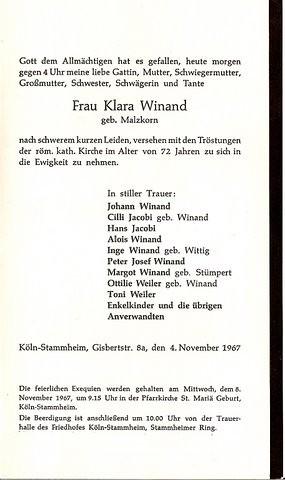 Totenzettel Winand, Klara geb. Malzkorn † 04.11.1967
