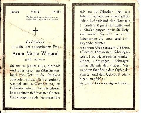 Totenzettel Winand, Anna Maria geb. Klein † 18.01.1953