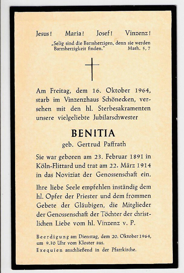 Totenzettel Paffrath, Gertrud - Schwester Benitia † 16.10.1965