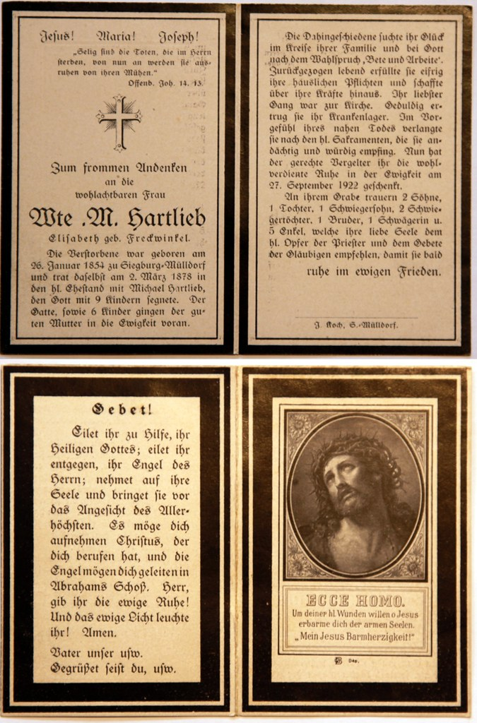 Totenzettel Hartlieb, Elisabeth † 27.09.1922