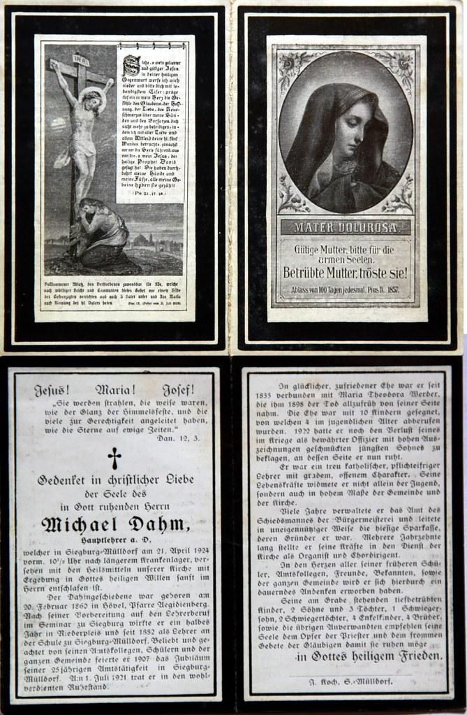 Totenzettel Dahm, Michael † 04.21.1924