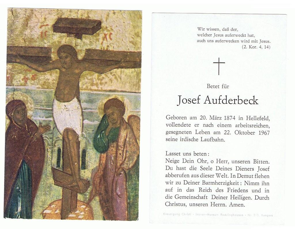 Totenzettel Aufderbeck, Josef † 22.10.1967
