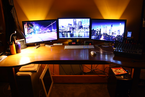 "My updated workspace, aka I Finally Got a Third 22"" LCD 