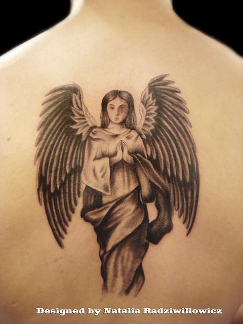 guardian angel on back tattoo flickr photo sharing. Black Bedroom Furniture Sets. Home Design Ideas