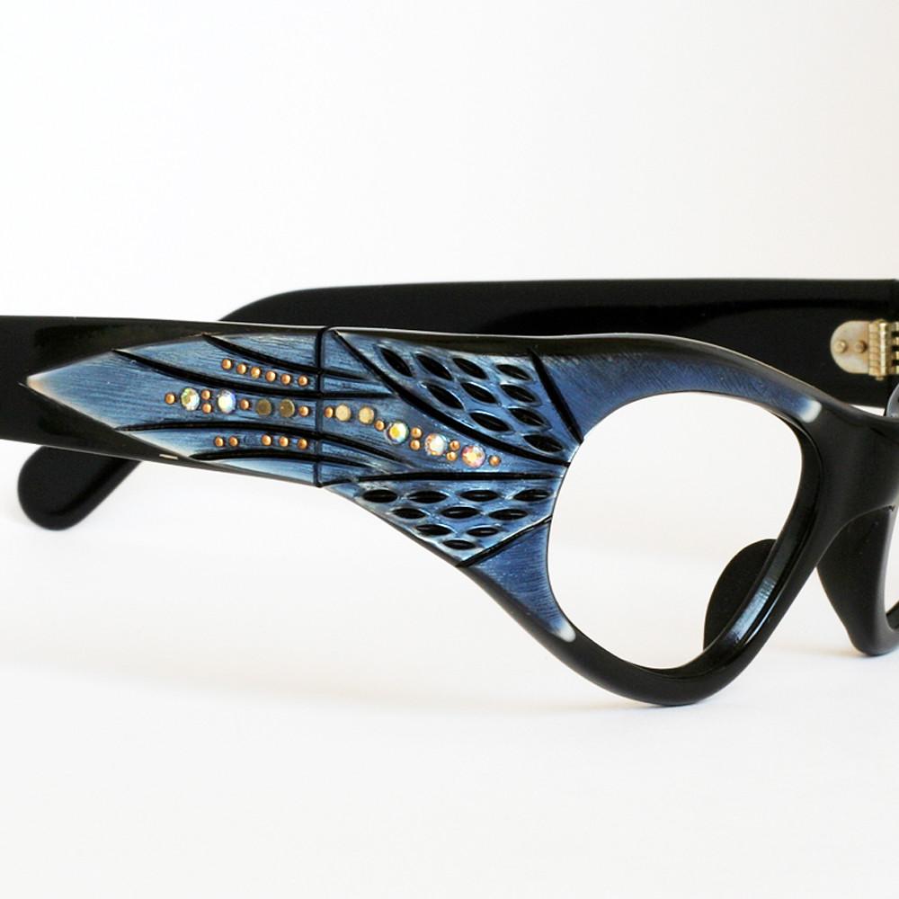 Blue Wraparound Cat Eye Frames with Rhinestones | Ms. Shore | Flickr