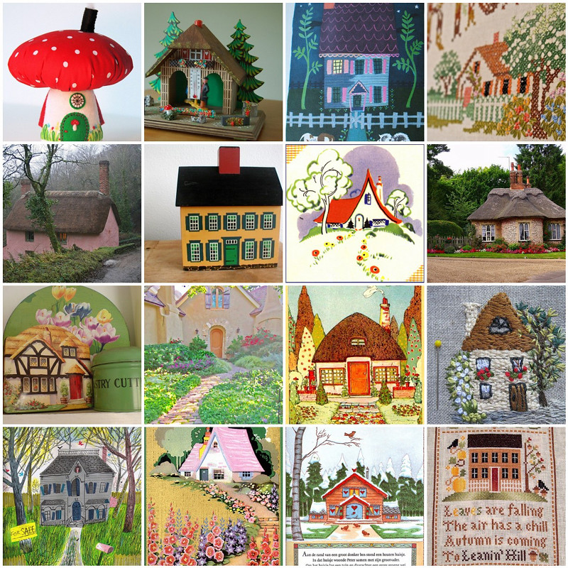 Cottages 1 Mushroom House Red 2 Weather House 3