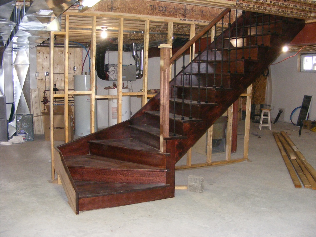 Basement Winder Stair Very Beautiful Stain Choice On Map