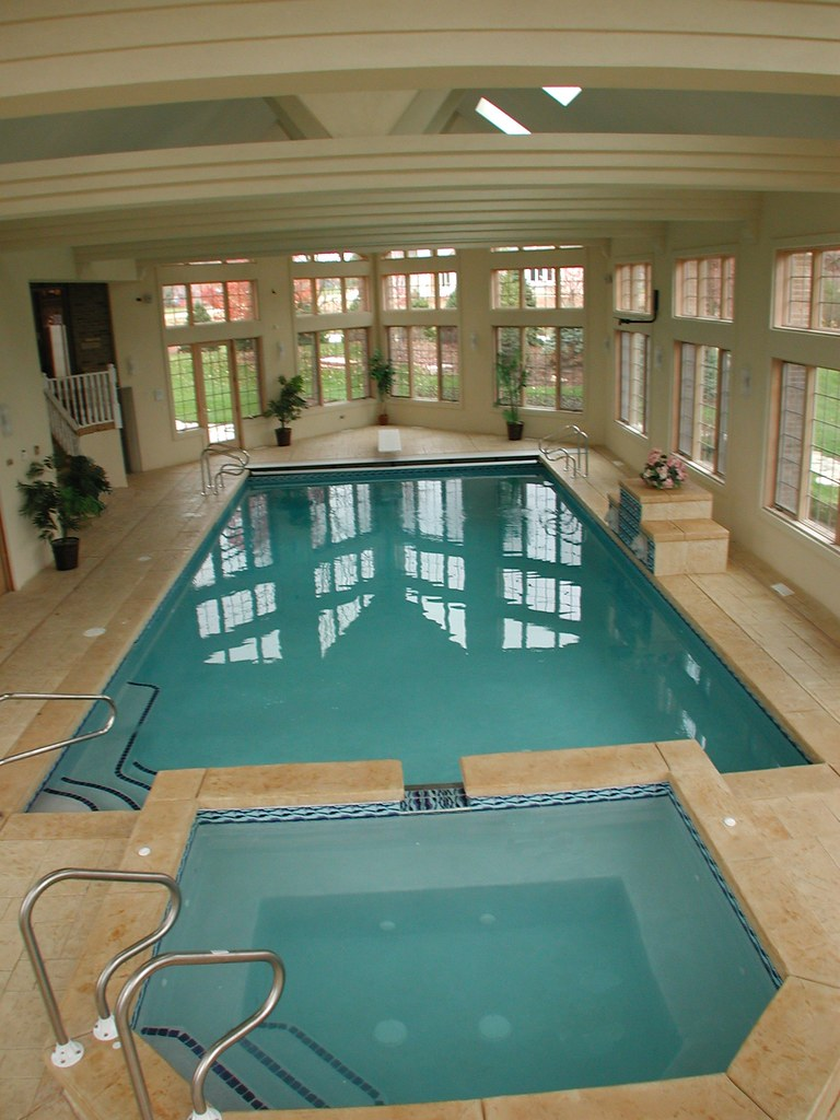 gunite indoor pool with spa auto cover all seasons pools flickr. Black Bedroom Furniture Sets. Home Design Ideas