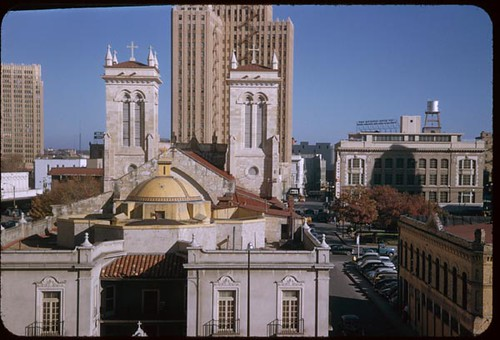 East from City Hall. Rear of old Cathedral, front side of ...