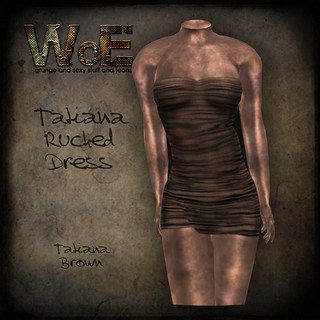 Tatiana Ruched Dress - Brown | by :. WoE .: