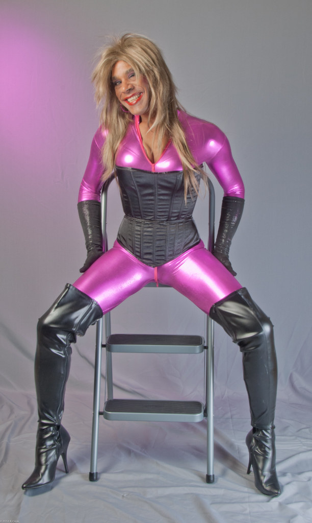 spandex catsuit corset amp thigh boots heres another