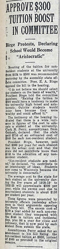 Approve $300 Tuition Boost in Committee, April 1921 | by uwdigitalcollections