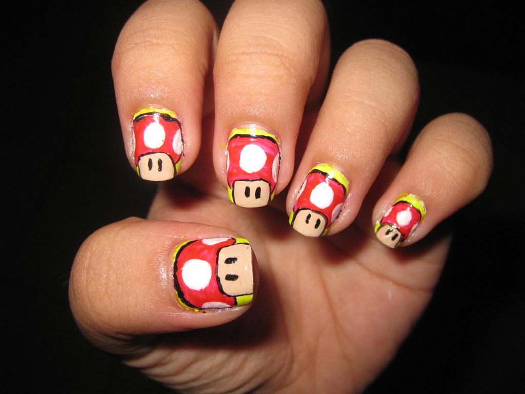 1UP Mushroom Super Mario Nail art design | katikuykuy | Flickr