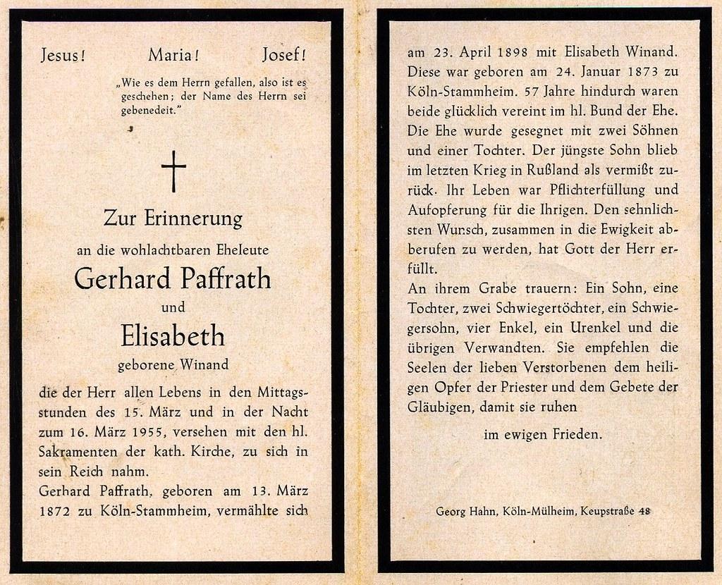 Totenzettel Paffrath, Gerhard gest † 15.03.1955u16