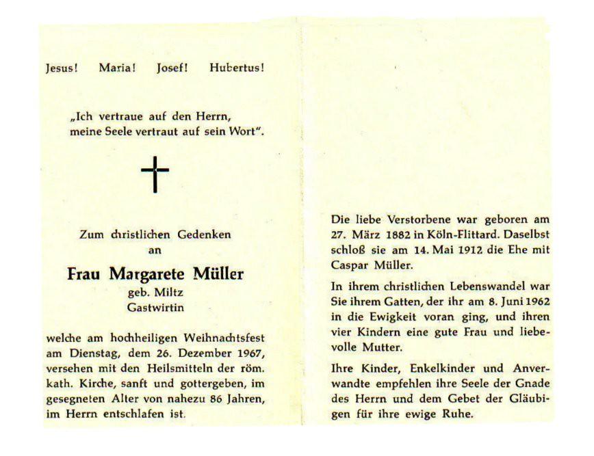 Totenzettel Miltz, Margarete † 26.12.1967