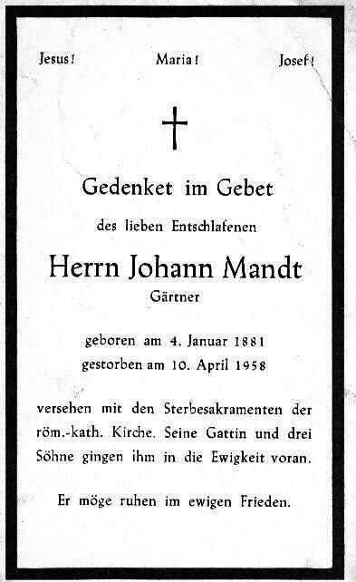 Totenzettel Mandt, Johann † 10.04.1958