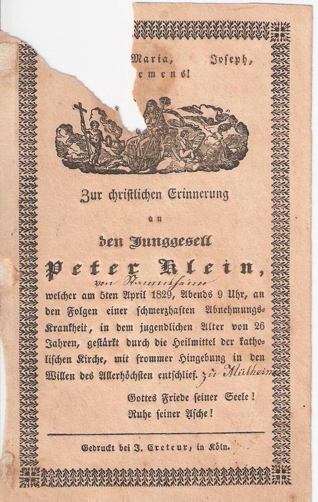 Totenzettel Klein, Peter † 05.04.1829