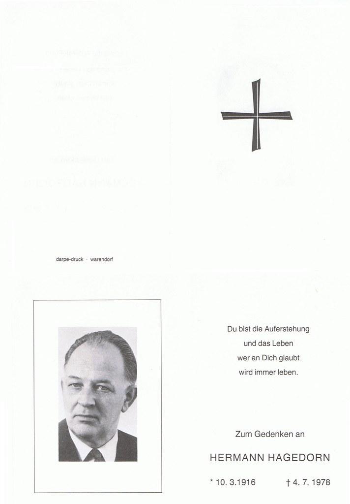Totenzettel Hagedorn, Hermann † 04.07.1978