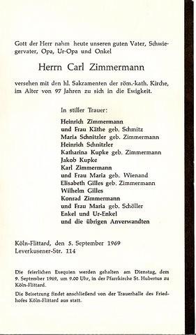 Totenzettel Zimmermann, Carl † 05.09.1969