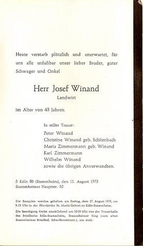Totenzettel Winand, Josef † 11.08.1973