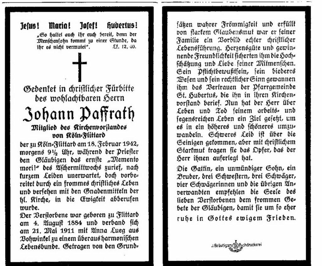 Totenzettel Paffrath, Johann geb. 1884 † 18.02.1942