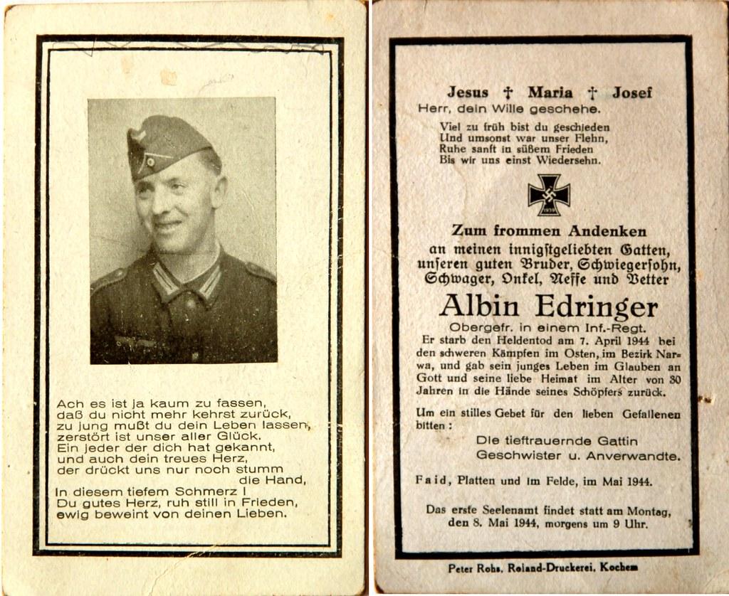 Totenzettel Edringer, Albin † 07.04.1944