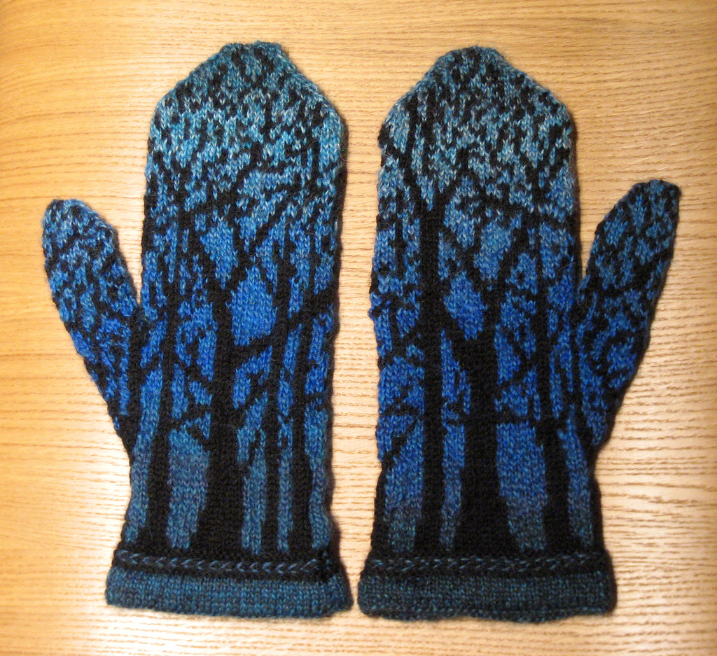 "tree mittens | Pattern: ""Deep in the Forest Mittens"" by Tuul ..."