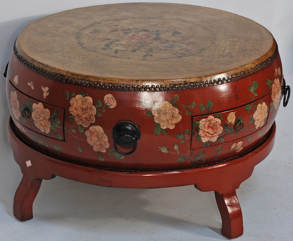 Bk0086y Chinese Coffee Table Round Drum On Wooden Stand G Flickr