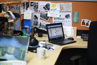 my very cluttered workstation back in AP | by jekert gwapo