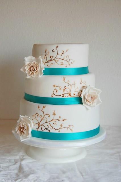 Braun /Türkis Hochzeitstorte  Explore Janes Cake Tragedys ...