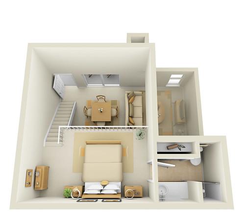 Studio 2nd Floor Townhome - 3D Floor Plan | www ...
