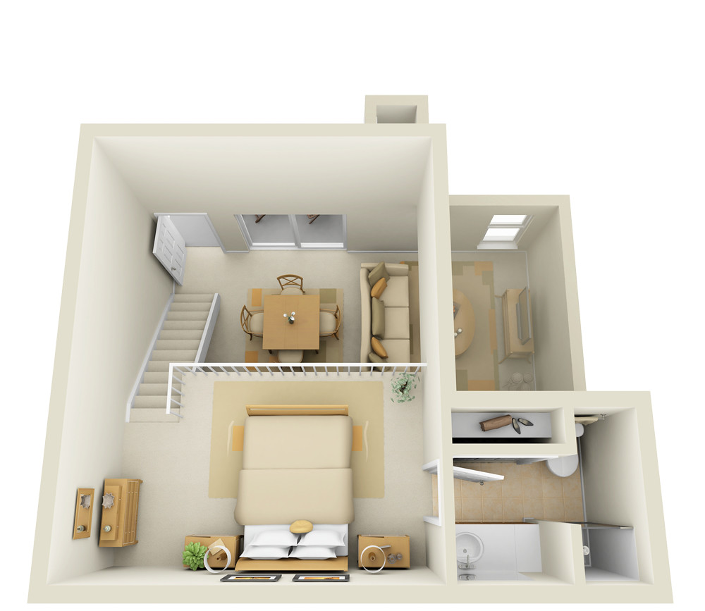 Studio 2nd floor townhome 3d floor plan www for Studio apartment design 3d