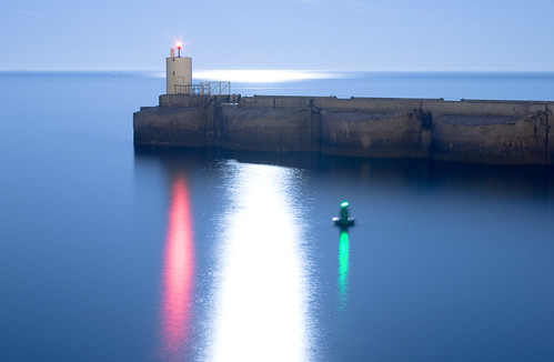 Brighton Marina Harbour Entrance Lights and Reflected Moonlight Glint | by Dominic's pics