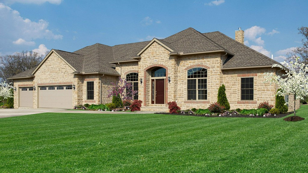 Alexandria with stone brick accents delaware 2787 for Houses with stone accents