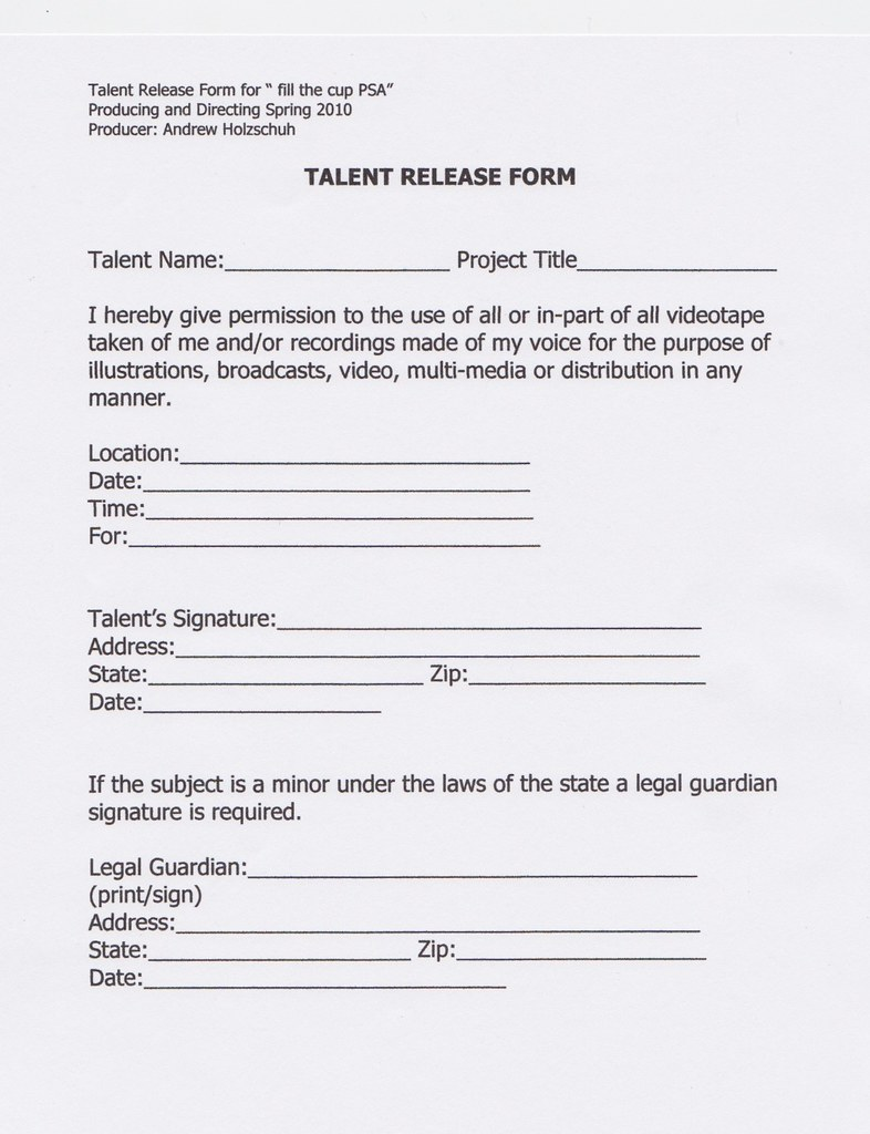 TALENT RELEASE FORM you can send a request for a PDF versi – Talent Release Form
