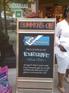 Whole Foods running @foursquare blackboard ads outside their stores = amazing | by dpstyles™