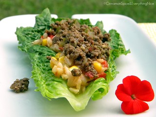 Picadillo and Mexican Rice Lettuce Wraps | by CinnamonKitchn