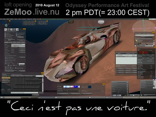 """Ceci n'est pas une voiture"" ZeMoo.live.nu loft opening 2010 August 12 Odyssey Performance Art Festival 
