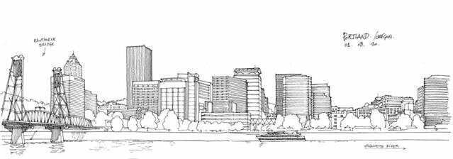 Portland skyline sketch