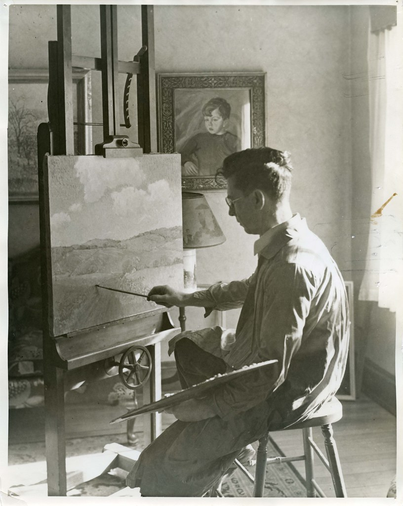 Easel Painter At Work On Painting On One Of The Wpa Federa
