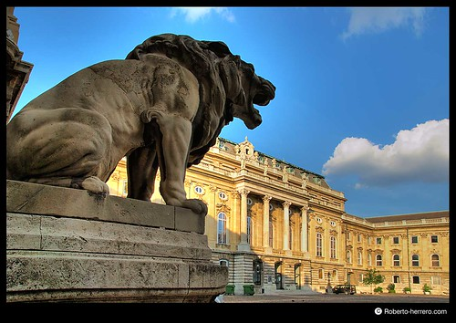 Lion gate with rear courtyard of royal palace budapest h - Roberto herrero ...