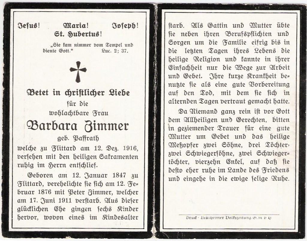 Totenzettel Zimmer, Barbara geb. Paffrath † 12.12.1916